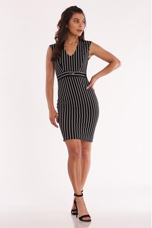 Striped Bodycon Dress BLKWHT