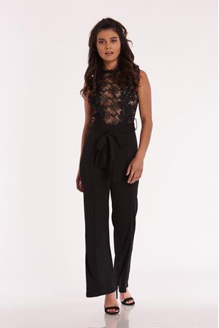 Lace Bodice Self Tie Jumpsuit BLACK