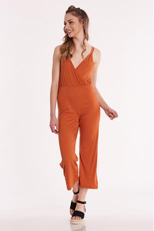 Ribbed Surplice Culotte Jumpsuit RUST