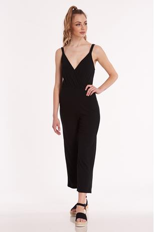 Ribbed Surplice Culotte Jumpsuit BLACK