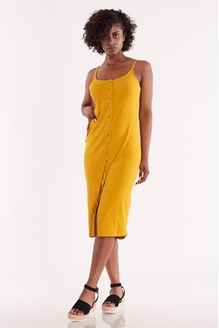 Ribbed Sleeveless Button Front Dress YELLOW
