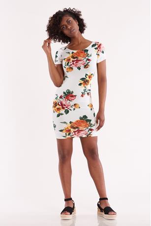 Floral Scoop Back Dress WHITE