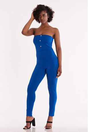 Button Front Tube Jumpsuit ROYAL