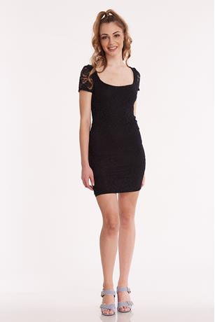 Lace Cap Sleeve Dress BLACK