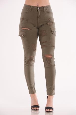 Cargo Skinny Jeans OLIVE