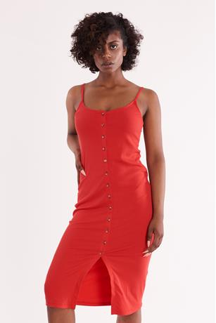 Ribbed Sleeveless Button Front Dress RED