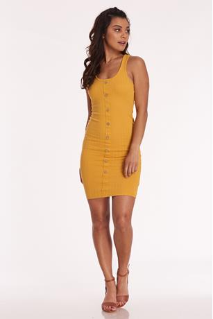 Ribbed Button Front Dress