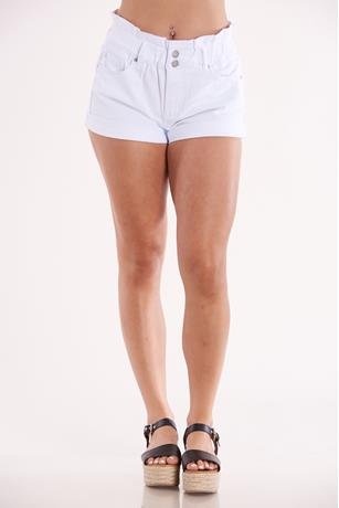 White Cinched Waist Shorts