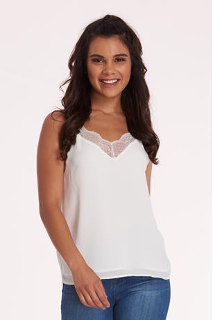 Lace Trim Cami WHITE
