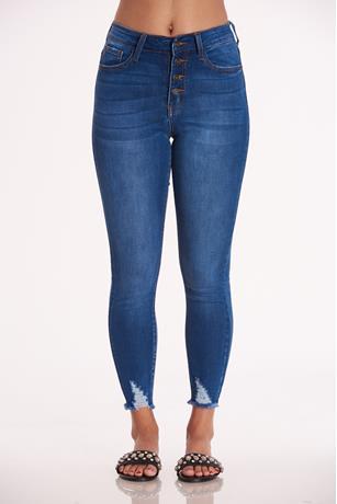 Frayed Hem Skinny Jeans MED WASH