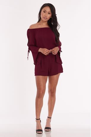Off Shoulder Bell Sleeve Romper