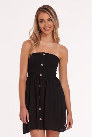 Smocked Button Up Dress BLACK