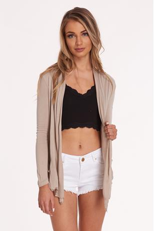 Long Sleeve Basic Cardigan TAUPE