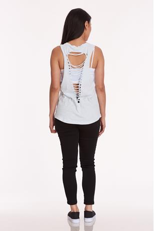 Active Cutout Back Tank  LT BLUE