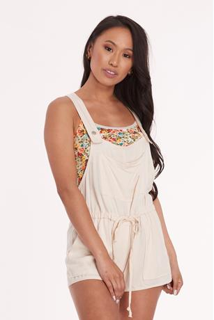 Self Tie Overall Shorts BEIGE