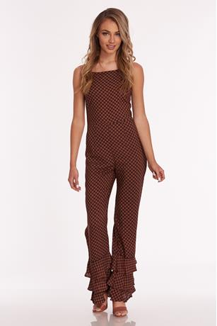 Printed Ruffle Bottom Jumpsuit RUST