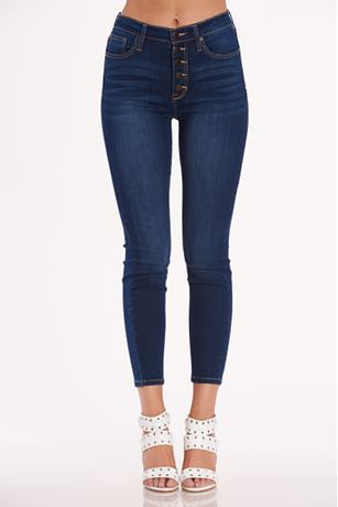 Button Up Ankle Skinny Jeans DARK WASH