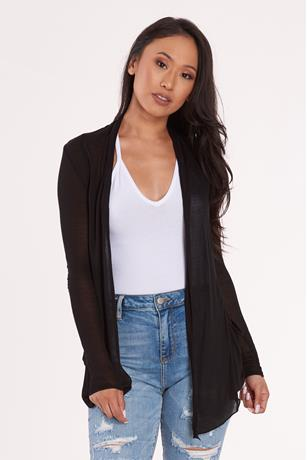 Open Front Cardigan BLACK