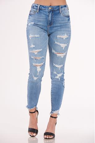 Cello Fray Hem Skinny Jeans MED WASH