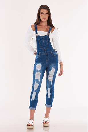 Distress Skinny Denim Overalls DARK WASH