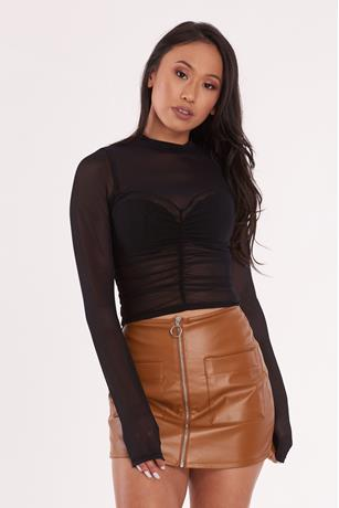 Sheer Mesh Ruched Top BLACK