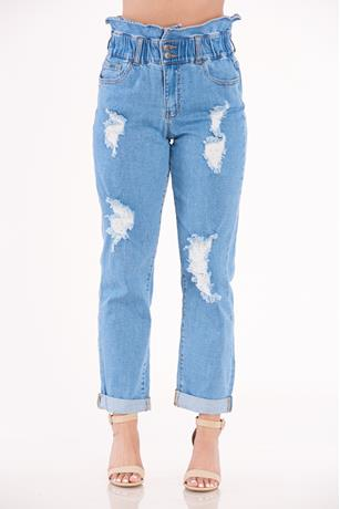 Paperbag Cuffed Hem Jeans LIGHT WASH
