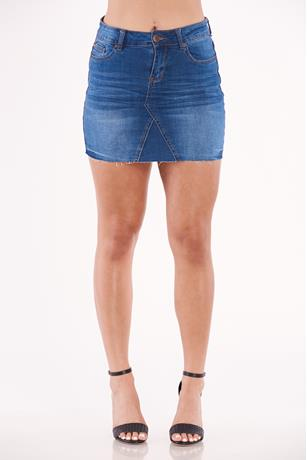 Mid Rise Denim Skirt