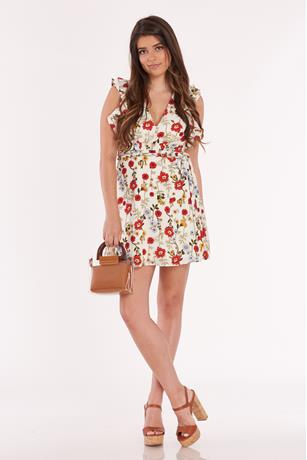 Floral Ruffle Trim Dress CREAM