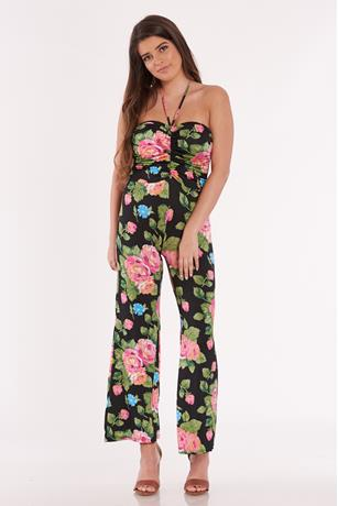Printed Ruched Tube Jumpsuit BLACK