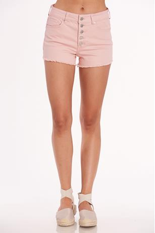 Color High Rise Frayed Short PINK
