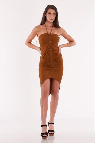 Rouched High Low Dress RUST