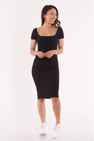 Ribbed Square Neck Dress BLACK
