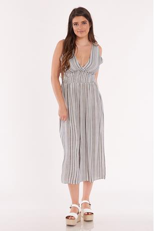 Striped Smocked Waist Culotte