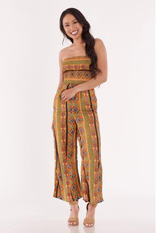 Printed Open Back Tube Jumpsuit MUSTARD