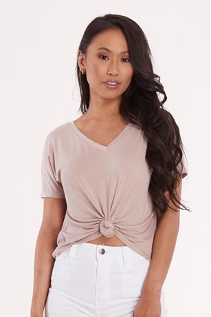 Knot Front Boxy Tee