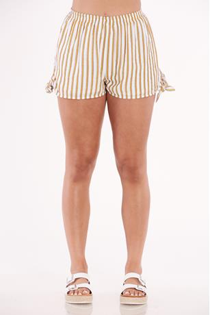 Striped Print Shorts MUSTARD