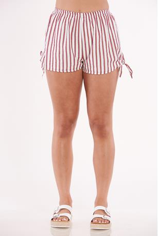 Striped Print Shorts RED