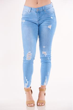 Rip Ankle Skinny Jeans LIGHT WASH
