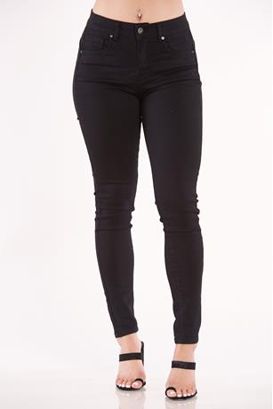 Single Button High Rise Jeans BLACK