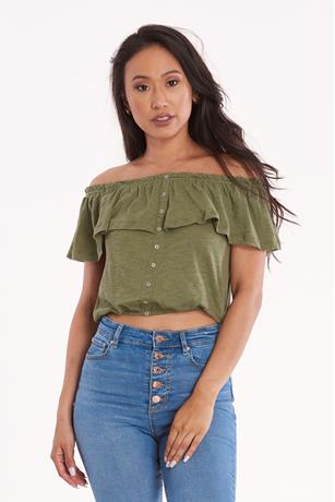 Off Shoulder Button Up Top OLIVE