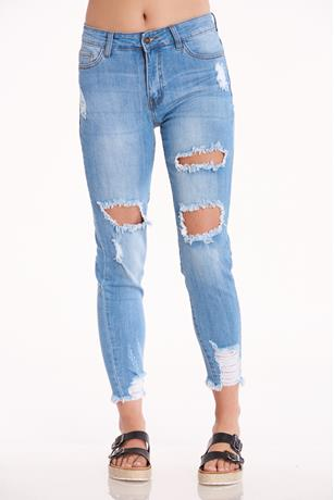 Distress Skinny Jeans  LIGHT WASH