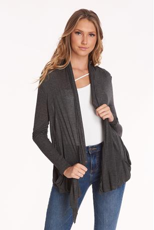 Long Sleeve Basic Cardigan CHARCOAL