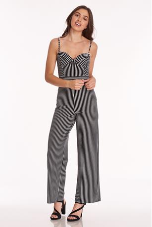 Striped Printed Jumpsuit BLKWHT