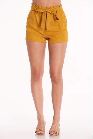 Linen Paperbag Shorts MUSTARD
