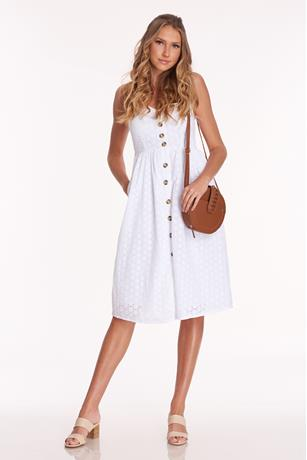 Eyelet Button Front Dress WHITE