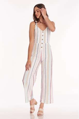 Striped Button Front Jumpsuit MULTI