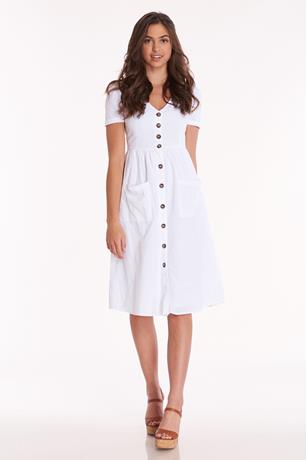 Cap Button Front Midi Dress WHITE
