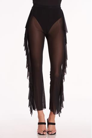 Sheer Mesh Ruffle Side Pants BLACK