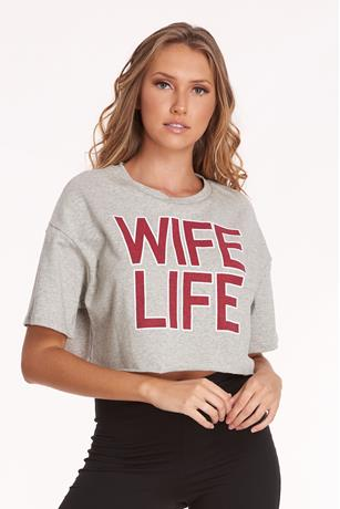 Wife Graphic Crop Top HEATHER