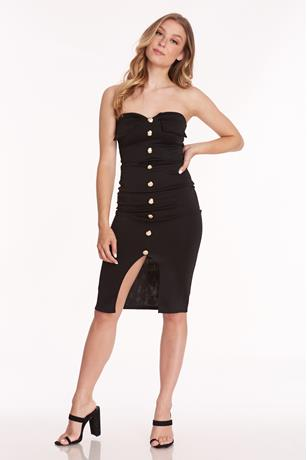 Tube Button Front Dress BLACK